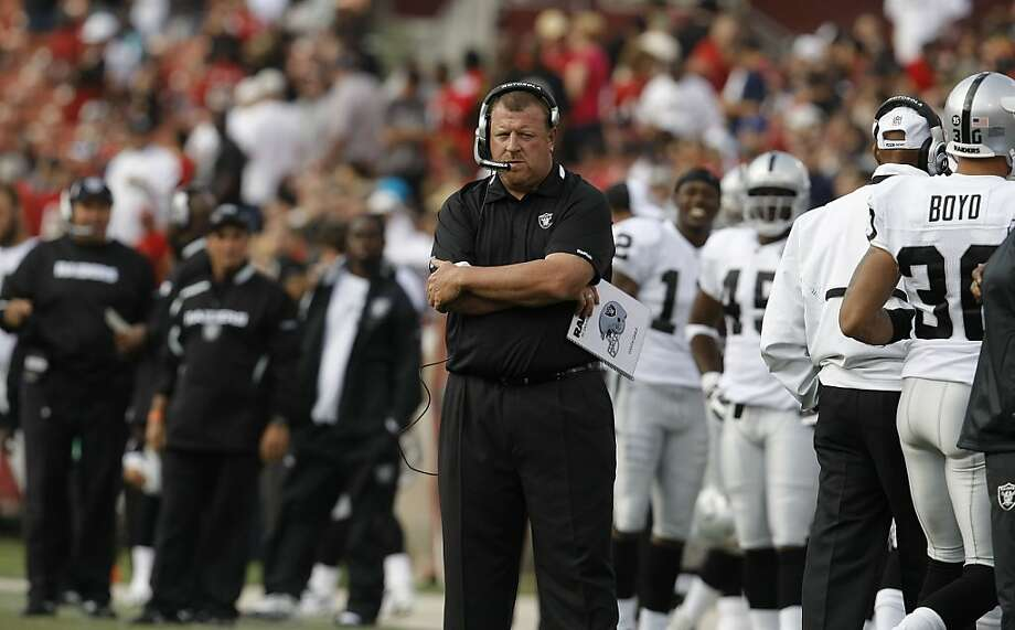 Oakland Raider head Coach Tom Cable watches from the sidelines in the first half as the San Francisco 49ers beat the Oakland Raiders 21-20 at Candlestick Park in San Francisco, Calif., on Saturday August 22, 2009, in a pre-season game. Photo: Michael Macor, The Chronicle