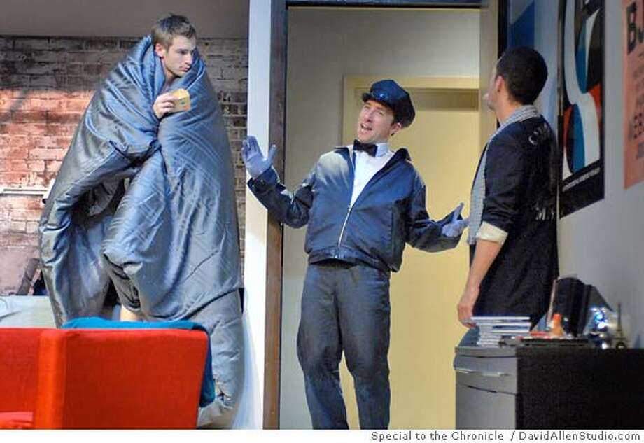 Blake (Patrick Alparone) and Kevin (Eric Kerr) receive an unexpected telegram from the Telegram Delivery Boy (Rowan Brooks) in Steve Yockey�s Octopus directed by Kate Warne which runs through June 8, 2008 at San Francisco�s Magic Theatre. Photo by DavidAllenStudio.com / Special to the Chroniclle Photo: DavidAllenStudio.com