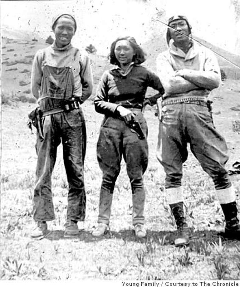 "Obit photo of Adelaide 'Su-Lin"" Young with husband (left) and brother-in-law (tall guy iat the right)  She and her husband Jack Young, and his brother Quentin, figure prominently in the 1930s expeditions to capture Giant Pandas for the US.  She was the first American woman explorer to venture into the Tibetan-Himalayan area. Photo: Young Family, Courtesy To The Chronicle"
