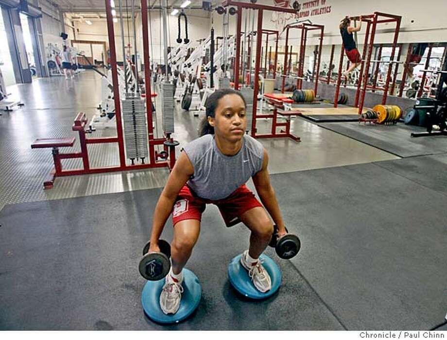 ###Live Caption:Stanford basketball player Melanie Murphy lifts weights while recovering from an ACL injury in Stanford, Calif., on Tuesday, May 13, 2008.  Photo by Paul Chinn / San Francisco Chronicle###Caption History:Stanford basketball player Melanie Murphy lifts weights while recovering from an ACL injury in Stanford, Calif., on Tuesday, May 13, 2008.  Photo by Paul Chinn / San Francisco Chronicle###Notes:Melanie Murphy###Special Instructions:MANDATORY CREDIT FOR PHOTOGRAPHER AND S.F. CHRONICLE/NO SALES - MAGS OUT Photo: Paul Chinn