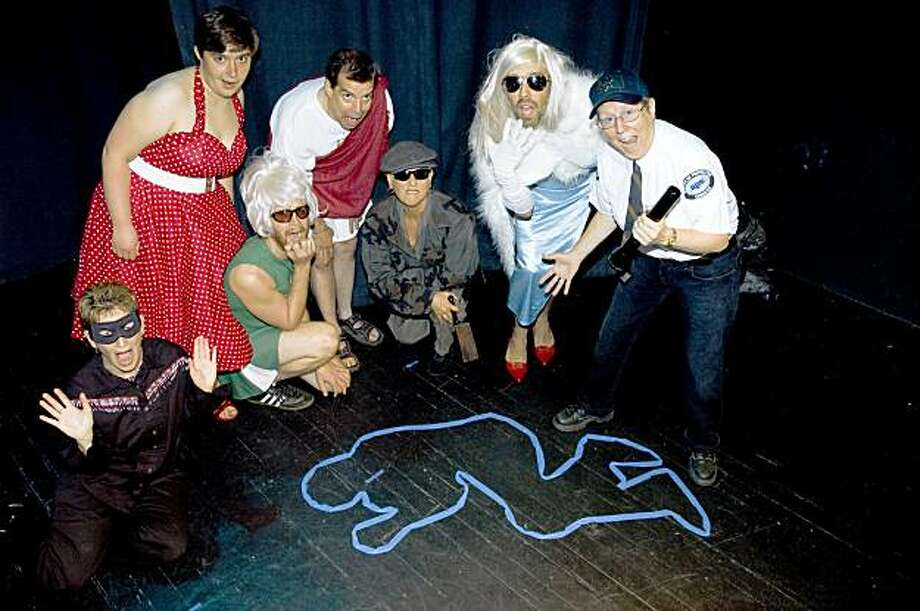 "From left to right: Elisa Shore, Molly Aplet, Scott Turco, Jim Oerther, Ellen Miller, Tom McElroy, Linda Rodriguey in ""Halloween in the Castro."" Photo: Paula Fraser"