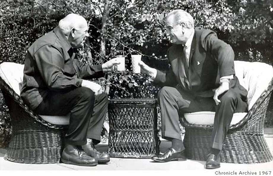 ###Live Caption: .jpg OCTOBER 3, 1967 - San Francisco longshoreman and philosopher Eric Hoffer with President Johnson in the White House Rose Garden in 1967. PHOTO CREDIT: AP wirephoto###Caption History: .jpg OCTOBER 3, 1967 - San Francisco longshoreman and philosopher Eric Hoffer with President Johnson in the White House Rose Garden in 1967. PHOTO CREDIT: AP wirephoto###Notes:###Special Instructions: Photo: PHOTO CREDIT: