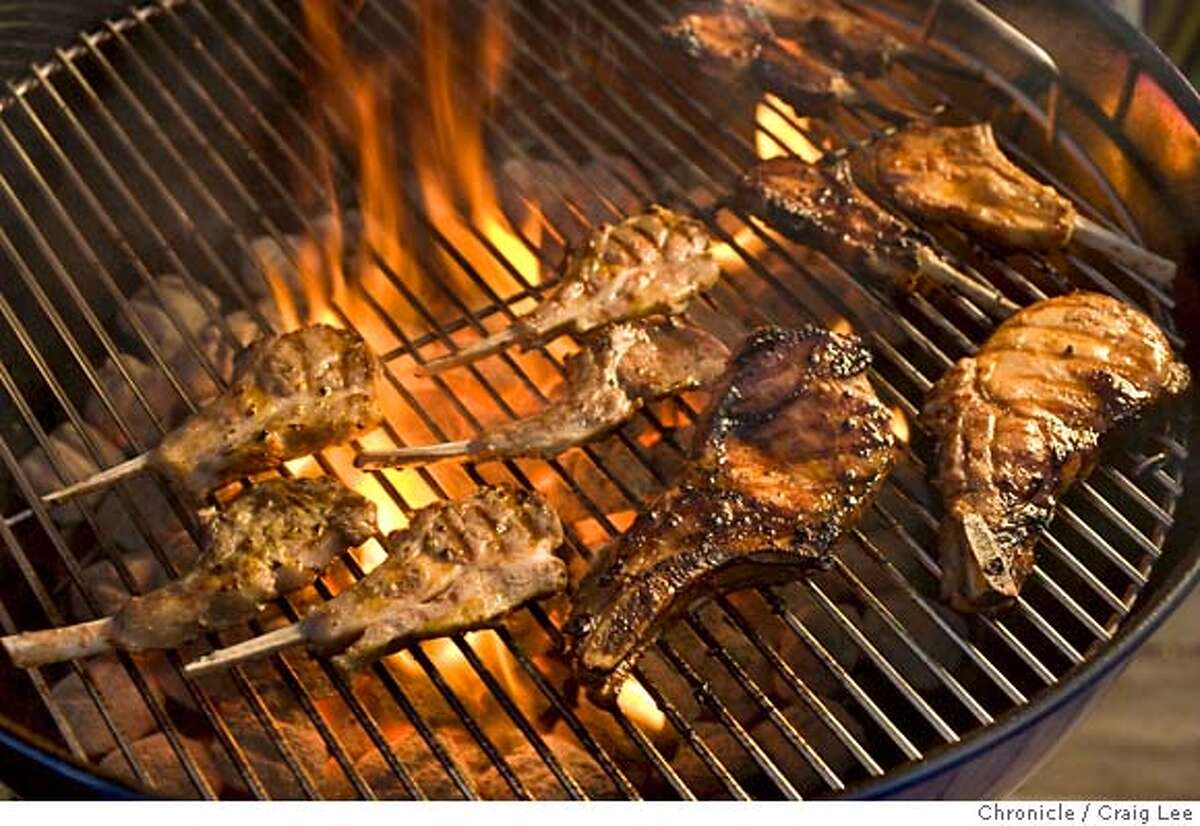 ###Live Caption:Lamb chops and pork chops on the grill. Food styled by Amanda Gold. Photo by Craig Lee / The San Francisco Chronicle###Caption History:Lamb chops and pork chops on the grill. Food styled by Amanda Gold. Photo by Craig Lee / The San Francisco Chronicle###Notes:Craig Lee 415-218-8597 clee@sfchronicle.com###Special Instructions:MANDATORY CREDIT FOR PHOTOG AND SF CHRONICLE/NO SALES-MAGS OUT