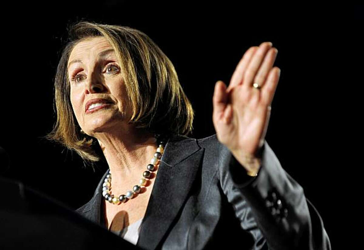 House Speaker Nancy Pelosi speaks as she introduces US President Barack Obama at a Democratic National Committee reception October 15, 2009 at a hotel in San Francisco, California. AFP PHOTO/Mandel NGAN (Photo credit should read MANDEL NGAN/AFP/Getty Images)