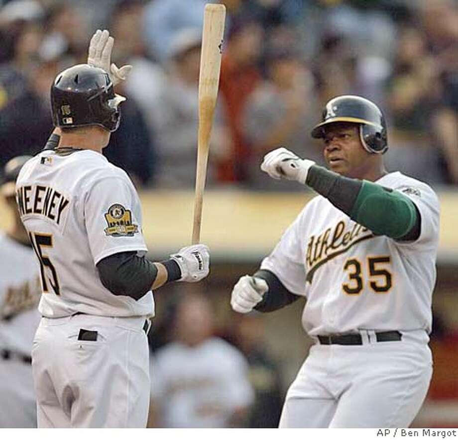 Oakland Athletics' Ryan Sweeney, left, waits to congratulate Frank Thomas after Thomas hit a two run home run during the first inning of a baseball game against the Tampa Bay Rays, Monday, May 19, 2008, in Oakland, Calif. (AP Photo/Ben Margot) Photo: Ben Margot