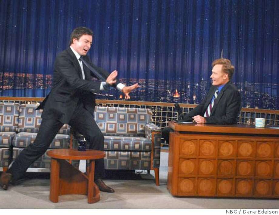 """Actor Jimmy Fallon (L) appears as a guest on """"Late Night with Conan O'Brien"""" with host Conan O'Brien in New York May 12, 2008 in this publicity photograph from NBC. Fallon was named by NBC on May 12 to succeed O'Brien who is scheduled to be host of """"The Tonight Show"""" in 2009. REUTERS/Dana Edelson/NBC Photo/Handout (UNITED STATES). NO SALES. NO ARCHIVES. FOR EDITORIAL USE ONLY. NOT FOR SALE FOR MARKETING OR ADVERTISING CAMPAIGNS. Photo: HO"""