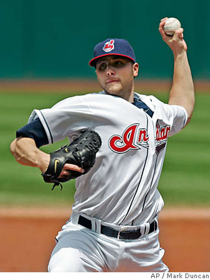 Cleveland Indians' Aaron Laffey pitches against the Oakland Athletics in the second inning of a baseball game Thursday, May 15, 2008, in Cleveland. (AP Photo/Mark Duncan) Photo: Mark Duncan