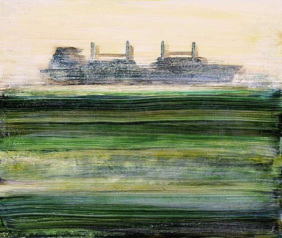"""Rain, Dark Green"" (2009) oil on wood by Suzy Barnard   16"" x 19"" Photo: Richard Paradowski, Artspan, S.F."