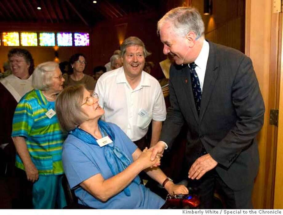 Reverand John Thomas (R), president and general minister of the United Church of Christ's, greets people after giving a sermon at the Danville Congregational Church in Danville, CA, on Sunday, May 18, 2008. Photo: Kimberly White