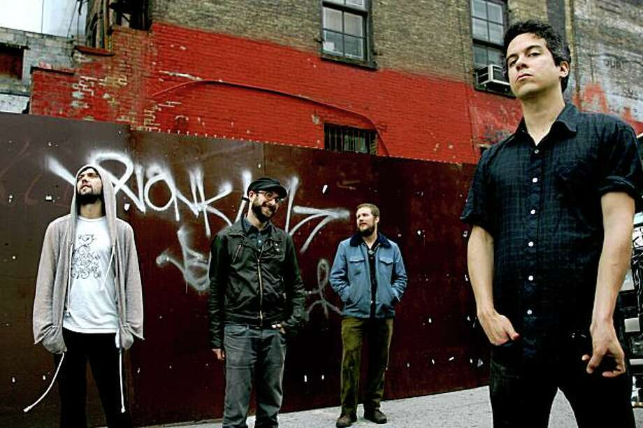 The Monsters of Folk: from left, Conor Oberst, Mike Mogis, Jim James and M. Ward in new York on June 13, 2009. The foursome are all outsize names and voices in indie rock. (Jessica Ebelhar/The New York Times) Photo: JESSICA EBELHAR, NYT