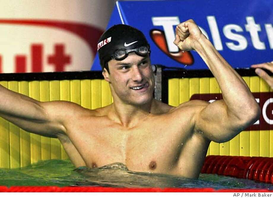###Live Caption:USA's Benjamin Wildman-Tobriner celebrates his gold medal victory in the men's 50m Freestyle final at the World Swimming Championships in Melbourne, Australia, Saturday, March 31, 2007.###Caption History:USA's Benjamin Wildman-Tobriner celebrates his gold medal victory in the men's 50m Freestyle final at the World Swimming Championships in Melbourne, Australia, Saturday, March 31, 2007. (AP Photo/Mark Baker)  Ran on: 04-01-2007 Ran on: 04-01-2007###Notes:###Special Instructions: Photo: Mark Baker