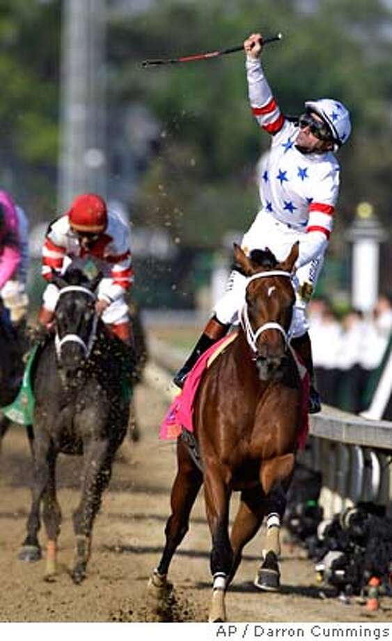 ###Live Caption:** CORRECTS HORSE AND RIDER TO KENT DESORMEAUX RIDES BIG BROWN , NOT GABRIEL SAEZ RIDES EIGHT BELLES ** Kent Desormeaux rides Big Brown to a victory in during the 134th Kentucky Derby Saturday, May 3, 2008, at Churchill Downs in Louisville, Ky. (AP Photo/Darron Cummings)###Caption History:** CORRECTS HORSE AND RIDER TO KENT DESORMEAUX RIDES BIG BROWN , NOT GABRIEL SAEZ RIDES EIGHT BELLES ** Kent Desormeaux rides Big Brown to a victory in during the 134th Kentucky Derby Saturday, May 3, 2008, at Churchill Downs in Louisville, Ky. (AP Photo/Darron Cummings)###Notes:Big Brown###Special Instructions:** CORRECTS HORSE AND RIDER TO KENT DESORMEAUX RIDES BIG BROWN , NOT GABRIEL SAEZ RIDES EIGHT BELLES ** EFE OUT EFE OUT Photo: Darron Cummings