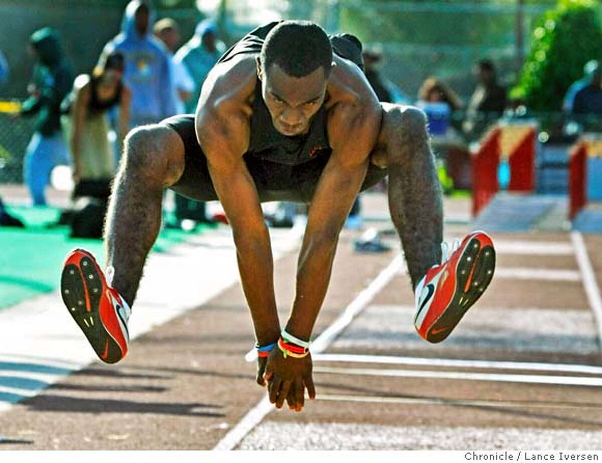 """###Live Caption:Rashad Evans from James Logan High School competes in the mens Triple Jump at the 18th annual James Logan Top """"8"""" Track and Field Invitational. Photographed in Union City Calif, Saturday April 19, 2008. Photo By Lance Iversen / San Francisco Chronicle###Caption History:Rashad Evans from James Logan High School competes in the mens Triple Jump at the 18th annual James Logan Top """"8"""" Track and Field Invitational. Photographed in Union City Calif, Saturday April 19, 2008. Photo By Lance Iversen / San Francisco Chronicle###Notes:Lance Iversen 415-2979395 CQ###Special Instructions:MANDATORY CREDIT PHOTOG AND SAN FRANCISCO CHRONICLE."""