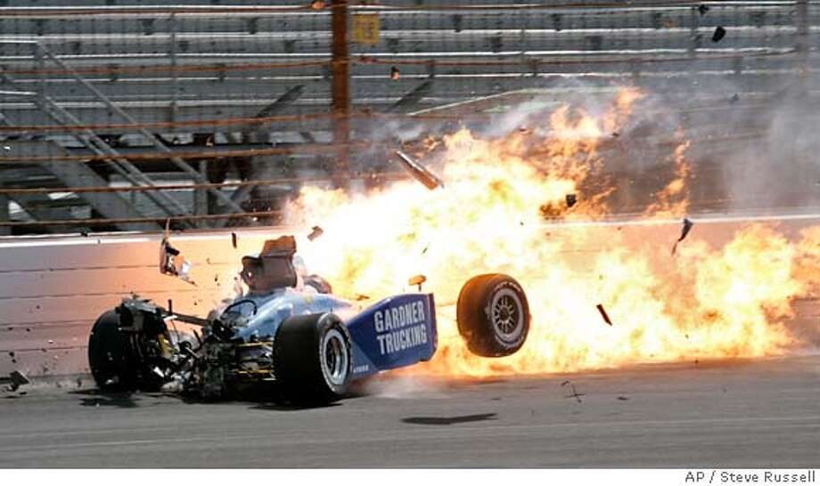 Phil Giebler slams into the wall in the first during a practice session for the Indianapolis 500 auto race at Indianapolis Motor Speedway in Indianapolis, Saturday, May 17, 2008. (AP Photo/Steve Russell) Photo: Steve Russell