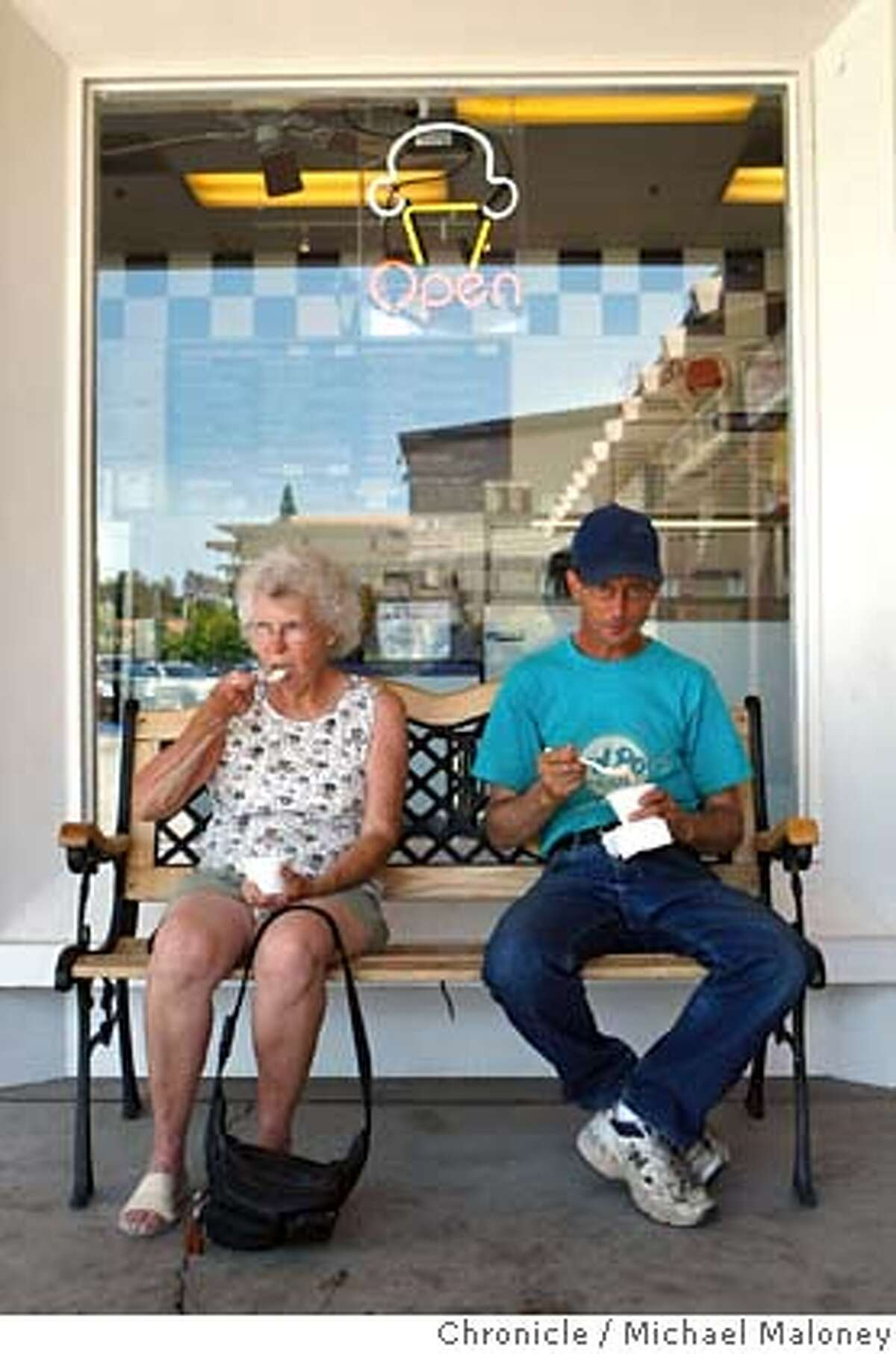Dottie Storz of San Jose and her nephew David Fuss of San Pablo escape the heat by sitting in the shade, enjoying their ice cream in Alamo, Calif. on May 15, 2008. Photo by Michael Maloney / San Francisco Chronicle