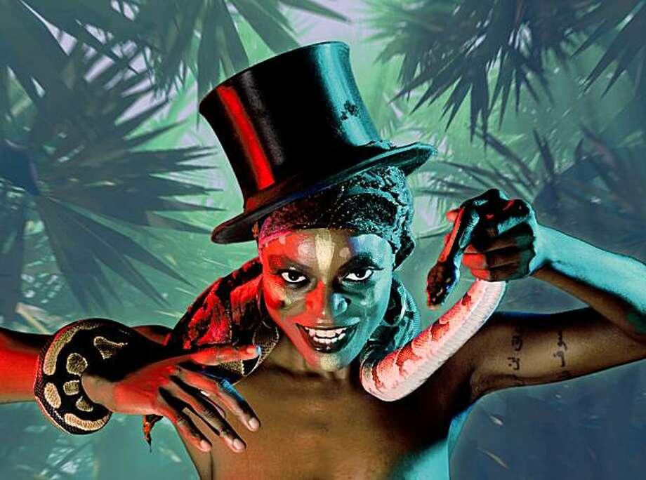 """Adeola Role in Thrillpeddlers' 10th annual Grand Guignol Halloween show,  """"Shocktoberfest!! 2009 -- The Torture Garden"""" Photo: David Allen"""