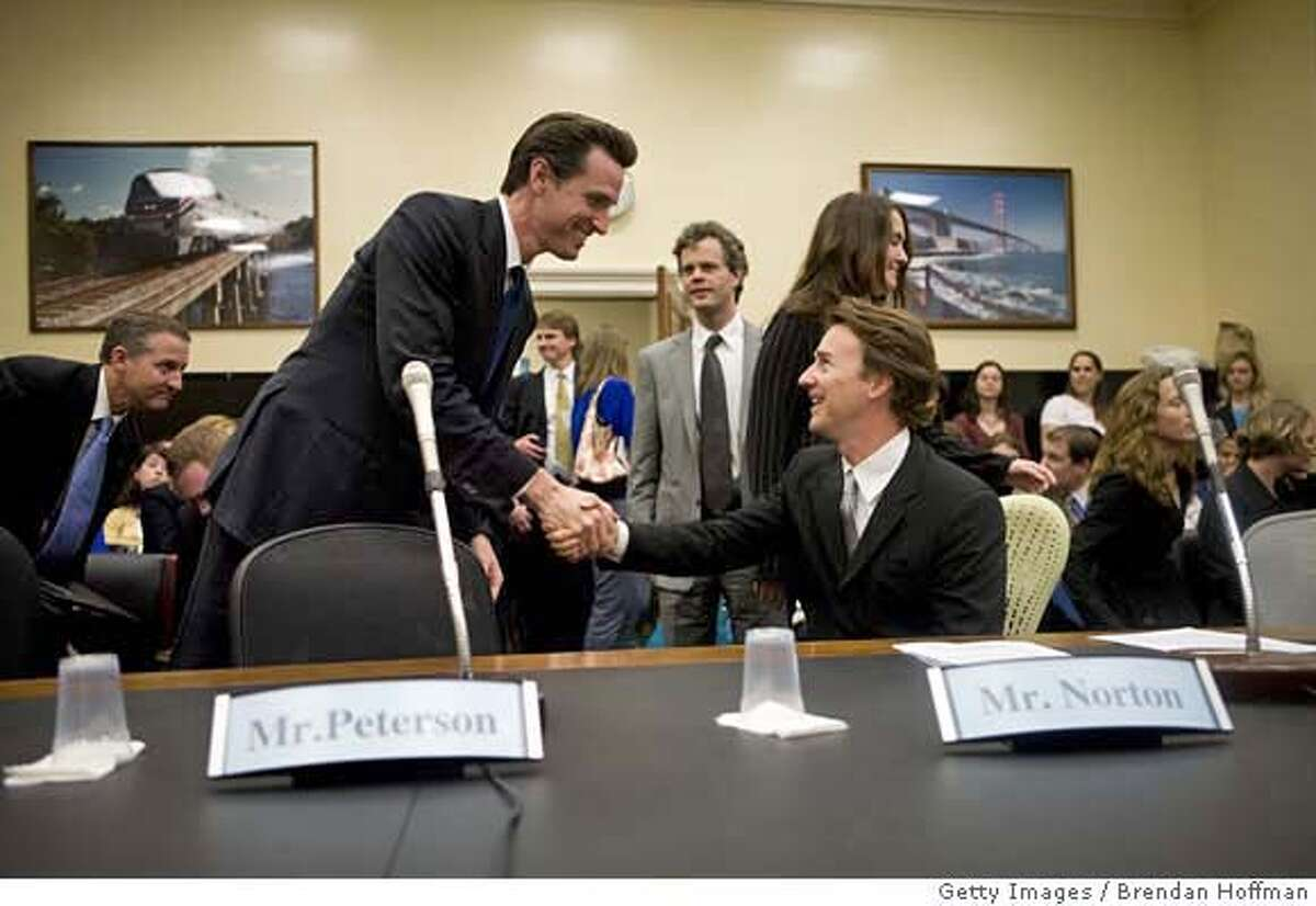 ###Live Caption:WASHINGTON - MAY 14: Actor Ed Norton (R) greets San Francisco Mayor Gavin Newsom before both testify at a hearing on Capitol Hill on green building standards May 14, 2008 in Washington, DC. Norton testified in his capacity as a trustee for the Enterprise Foundation. (Photo by Brendan Hoffman/Getty Images)###Caption History:WASHINGTON - MAY 14: Actor Ed Norton (R) greets San Francisco Mayor Gavin Newsom before both testify at a hearing on Capitol Hill on green building standards May 14, 2008 in Washington, DC. Norton testified in his capacity as a trustee for the Enterprise Foundation. (Photo by Brendan Hoffman/Getty Images)###Notes:Ed Norton Speaks On
