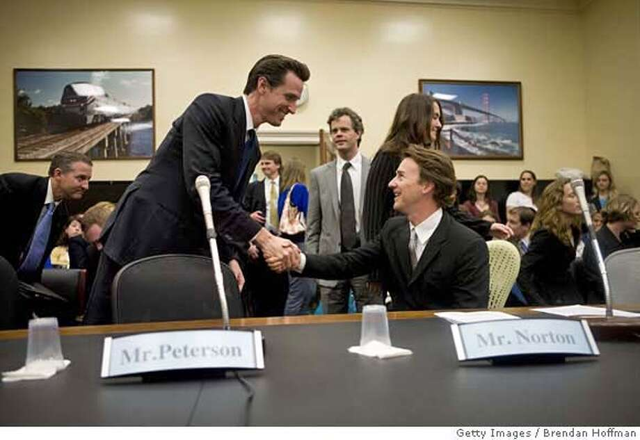"###Live Caption:WASHINGTON - MAY 14: Actor Ed Norton (R) greets San Francisco Mayor Gavin Newsom before both testify at a hearing on Capitol Hill on green building standards May 14, 2008 in Washington, DC. Norton testified in his capacity as a trustee for the Enterprise Foundation. (Photo by Brendan Hoffman/Getty Images)###Caption History:WASHINGTON - MAY 14: Actor Ed Norton (R) greets San Francisco Mayor Gavin Newsom before both testify at a hearing on Capitol Hill on green building standards May 14, 2008 in Washington, DC. Norton testified in his capacity as a trustee for the Enterprise Foundation. (Photo by Brendan Hoffman/Getty Images)###Notes:Ed Norton Speaks On ""Building Green, Saving Green""###Special Instructions: Photo: Brendan Hoffman"