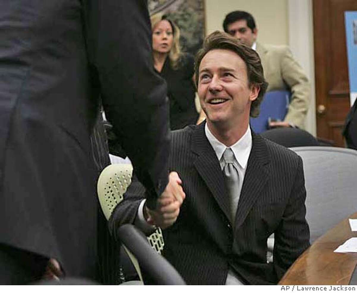 ###Live Caption:Actor Ed Norton, right, shakes hands with San Francisco Mayor Gavin Newsom prior to testifying on Capitol Hill in Washington, Wednesday, May 14,2008, before the Select Committee on Energy Independence and Global Warming hearing on green buildings and green building policies reducing energy costs and pollution. . (AP Photo/Lawrence Jackson)###Caption History:Actor Ed Norton, right, shakes hands with San Francisco Mayor Gavin Newsom prior to testifying on Capitol Hill in Washington, Wednesday, May 14,2008, before the Select Committee on Energy Independence and Global Warming hearing on green buildings and green building policies reducing energy costs and pollution. . (AP Photo/Lawrence Jackson)###Notes:Ed Norton, Gavin Newsom###Special Instructions: