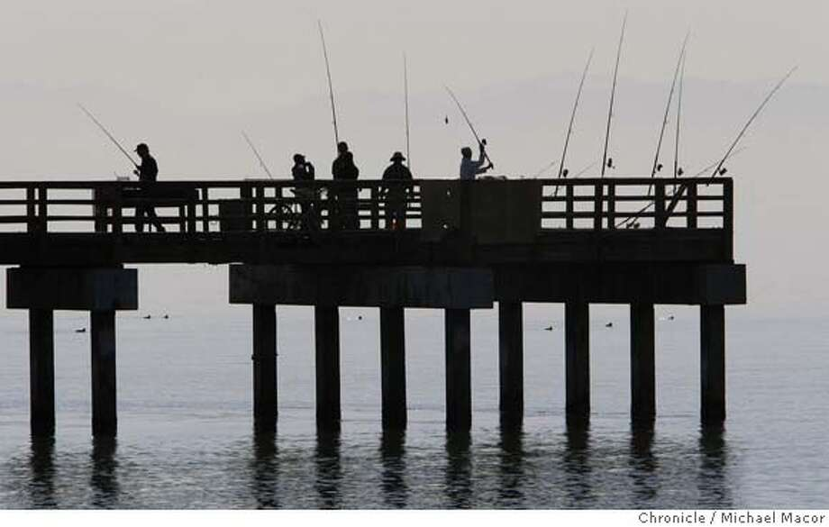 ###Live Caption:Fisherman along the Sunrise Point pier at the Candlestick Point recreation area, in San Francisco, Calif., try their luck fishing for smelt, halibut and striped bass in the Bay waters. Photo by Michael Macor/ San Francisco Chronicle###Caption History:Fisherman along the Sunrise Point pier at the Candlestick Point recreation area, in San Francisco, Calif., try their luck fishing for smelt, halibut and striped bass in the Bay waters. Photo by Michael Macor/ San Francisco Chronicle###Notes:Sunny day after a cool morning start.###Special Instructions:Mandatory credit for Photographer and San Francisco Chronicle No sales/ Magazines Out Photo: Michael Macor