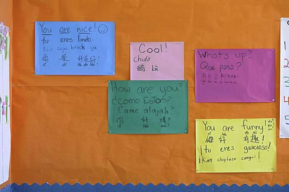 Signs hanging in math class are written in several different languages at International High School in San Francisco, Calif. on Tuesday, September 1, 2009. Photo: Lea Suzuki, The Chronicle