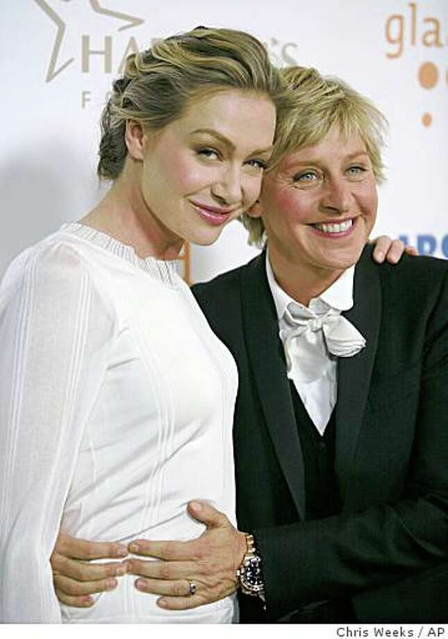 In this 2008 file photo actress Portia de Rossi, left, and television personality Ellen DeGeneres arrive at the 19th Annual GLAAD Media Awards on Saturday, April 26, 2008, in the Hollywood section of Los Angeles. DeGeneres is putting the state Supreme Court ruling in favor of gay marriage into action _ she and actress Portia de Rossi plan to wed, DeGeneres announced during a taping of her talk show Thursday May 15, 2008. (AP Photo/Chris Weeks, FILE) Photo: Chris Weeks, AP