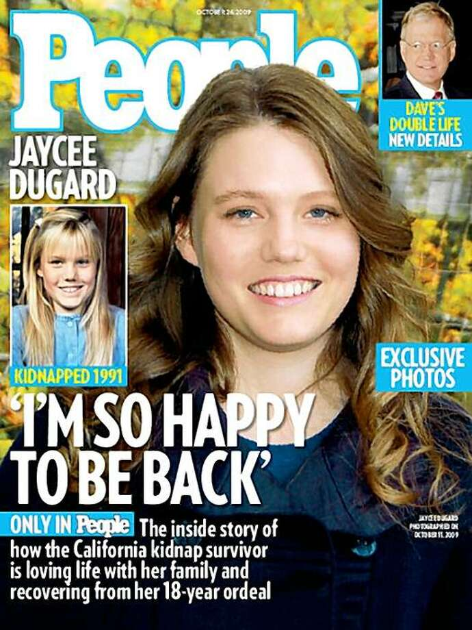 "In this image released Wednesday, Oct. 14, 2009, by People Magazine, the cover of the magazine is shown with Jaycee Dugard. Dugard was 11 when police say she was abducted outside her South Lake Tahoe home in 1991, she is now 29. Dugard decided to release photos to People magazine as a way to ""share her joy with the world"" and show how well she's doing. (AP Photo/People Magazine) ** ONLINE OUT; INTERNET USAGE OUT; NORTH AMERICAN USE ONLY; NO SALES ** Photo: AP"