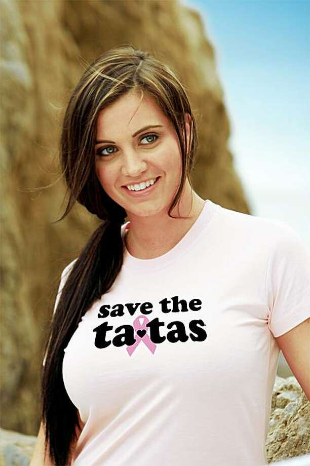 """This photo released by Save the Ta-tas shows one of their t-shirts. The company also has hats.  The T-shirts proclaim everything from """"caught you lookin' at my ta-tas"""" and """"I love my big ta-tas"""" for women to """"my girl has great ta-tas"""" and """"save a life grope your wife"""" for men. (AP Photo/Save The Ta-tas)**NO SALES** Photo: AP"""