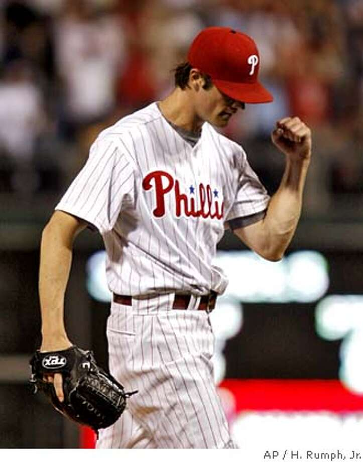 Philadelphia Phillies starting pitcher Cole Hamels celebrates after striking out Atlanta Braves' Brian McCann in the ninth inning of an MLB baseball game Thursday, May 15, 2008, in Philadelphia.The Phillies won 5-0. (AP Photo/H. Rumph, Jr.) Photo: H. RUMPH, JR.