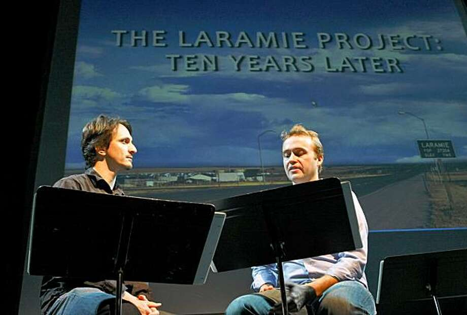 "Members of the Berkeley Rep Theatre, James Ashen who plays Stephen Belber (left) interviews Alex Moggridge who plays killer, Russell Henderson in, "" The Laramie Project: Ten Years later"",  performance, Monday Oct. 12, 2009, in Berkeley, Calif. Photo: Lacy Atkins, The Chronicle"