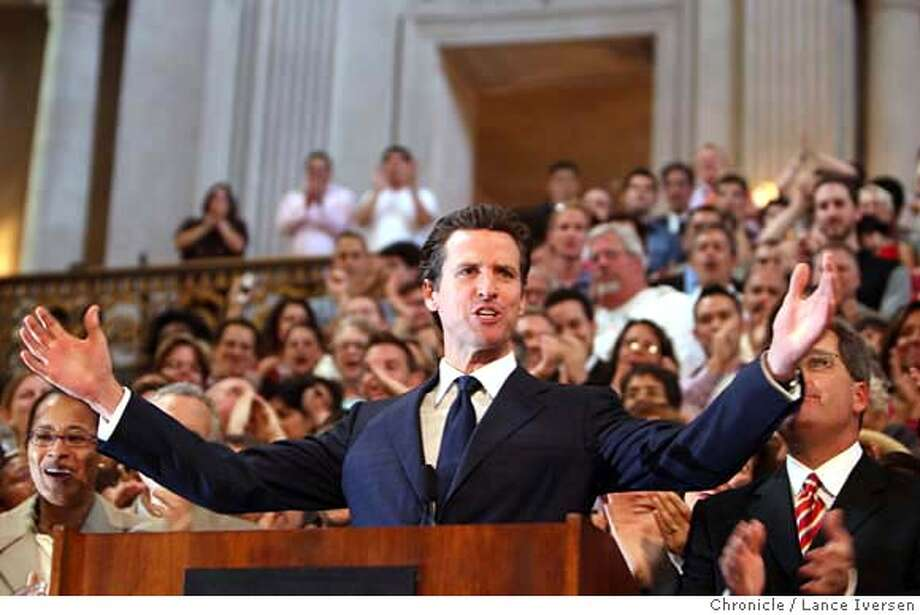 "###Live Caption:San Francisco Mayor Gavin Newsom talks about the California Supreme Court desistion during a press conferance in the City Hall rotunda Wednesday May 15, 2008. The California Supreme Court desistion giving Gays and lesbians constitutional right to marry in California was the buzz at City Hall all day. The state Supreme Court said Wednesday May 15, 2008 in a historic ruling that could be repudiated by the voters in November.  In a 4-3 decision, the justices said the state's ban on same-sex marriage violates the ""fundamental constitutional right to form a family relationship. Photographed in San Francisco, Calif, By Lance Iversen / San Francisco Chronicle.###Caption History:San Francisco Mayor Gavin Newsom talks about the California Supreme Court desistion during a press conferance in the City Hall rotunda Wednesday May 15, 2008. The California Supreme Court desistion giving Gays and lesbians constitutional right to marry in California was the buzz at City Hall all day. The state Supreme Court said Wednesday May 15, 2008 in a historic ruling that could be repudiated by the voters in November.  In a 4-3 decision, the justices said the state's ban on same-sex marriage violates the ""fundamental constitutional right to form a family relationship. Photographed in San Francisco, Calif, By Lance Iversen / San Francisco Chronicle.###Notes:Lance Iversen 415-2979395  CQ###Special Instructions:MANDATORY CREDIT PHOTOG AND SAN FRANCISCO CHRONICLE. Photo: LANCE IVERSEN"
