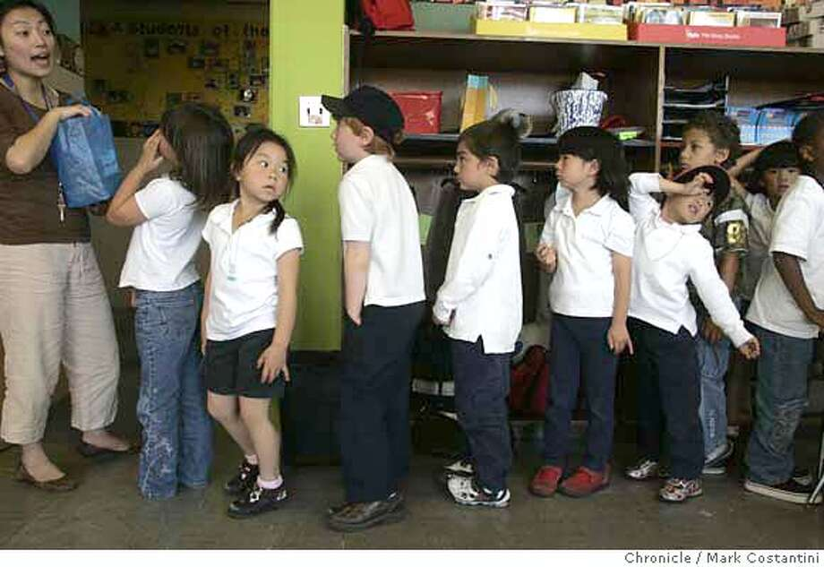 ###Live Caption:Teacher Angelica Chang(left) gets her wrestless-for-recess kindergarten class in line for morning recess. This is for the last installment of the kindergarten Mandarin program at Starr King Elementary. We are there on the second to last day of school.###Caption History:Teacher Angelica Chang(left) gets her wrestless-for-recess kindergarten class in line for morning recess.  This is for the last installment of the kindergarten Mandarin program at Starr King Elementary. We are there on the second to last day of school. This is in teacher Angelica Chang's classroom PHOTO: Mark Costantini / The Chronicle Ran on: 06-12-2007  Angelica Chang gives the quiet signal to her other students at Starr King Elementary School as Katie Hurley practices her Chinese characters.  Ran on: 06-12-2007  Angelica Chang gives the quiet signal to her other students at Starr King Elementary School as Katie Hurley practices her Chinese characters.###Notes:###Special Instructions:MANDATORY CREDIT FOR PHOTOGRAPHER AND SAN FRANCISCO CHRONICLE/NO SALES-MAGS OUT Photo: MARK COSTANTINI
