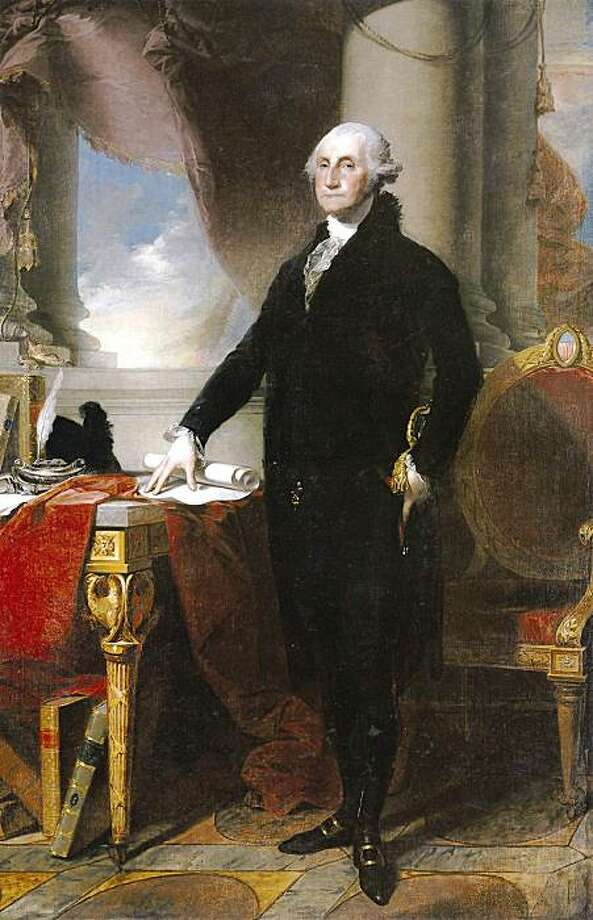 This image provided by Sotheby's depicts Gilbert Stuart's full-length portrait of George Washington, dating from around 1800. The painting is one of 19 artworks the New York Public Library plans to sell at auction in order to raise money to buy rare books and other collections. PHOTO CREDIT: Sotheby's  Published 01-05-2007: A large detail of the newly sold Stuart portrait of Washington.  (Sotheby's) Photo: AP