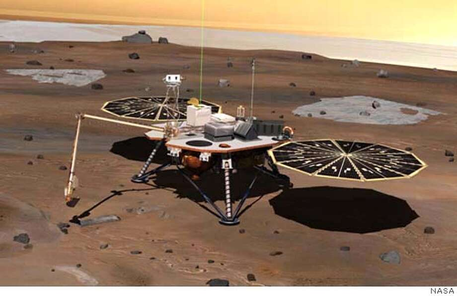NASA's Phoenix Mars Lander monitors the atmosphere overhead and reaches out to the soil below in this artist's depiction of the spacecraft fully deployed on the surface of Mars. Photo: NASA