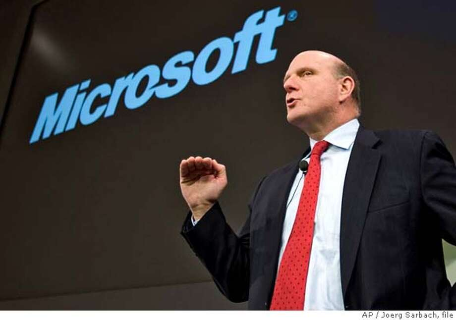 ###Live Caption:** FILE ** In this March 3, 2008 file photo, Steve Ballmer, CEO of Microsoft, addresses the media during a news conference at the CeBIT in Hanover, northern Germany. Without the influx of Web traffic Microsoft bet would quickly follow a Yahoo buyout, the software maker is facing a long slog if it wants to turn its money-losing online services business into a Google-killer. (AP Photo/Joerg Sarbach, file)###Caption History:** FILE ** In this March 3, 2008 file photo, Steve Ballmer, CEO of Microsoft, addresses the media during a news conference at the CeBIT in Hanover, northern Germany. Without the influx of Web traffic Microsoft bet would quickly follow a Yahoo buyout, the software maker is facing a long slog if it wants to turn its money-losing online services business into a Google-killer. (AP Photo/Joerg Sarbach, file)###Notes:Steve Ballmer###Special Instructions:MARCH 3, 2008 FILE PHOTO Photo: Joerg Sarbach