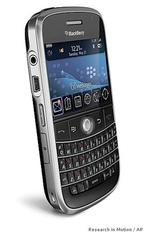 "In this photo provided by Research in Motion, the BlackBerry Bold is shown. The Bold, or 9000, has twice the screen resolution of the current Curve model, making for a very sharp display. It matches the resolution, but not the size, of the screen on Apple Inc.'s iPhone, which has emerged as a potent competitor in the ""smart phone"" category. (AP Photo/Research in Motion) Photo: Research In Motion, AP"