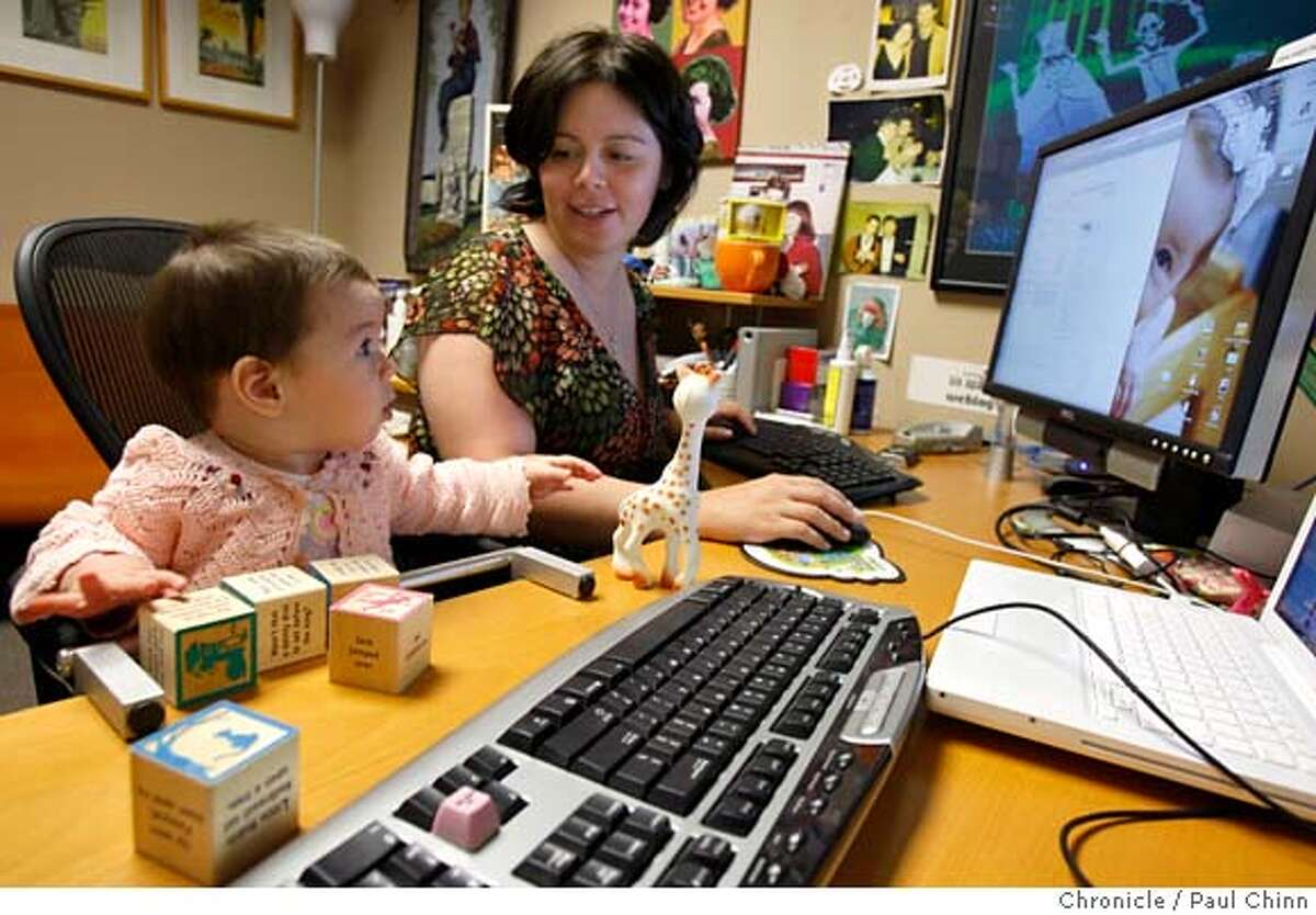 ###Live Caption:Mena Trott works at her office with her six-month-old daughter Penelope in San Francisco, Calif., on Friday, April 25, 2008. Trott created a blog to chronicle her pregnancy and Penelope's birth so friends and family could get immediate updates. Photo by Paul Chinn / San Francisco Chronicle###Caption History:Mena Trott works at her office with her six-month-old daughter Penelope in San Francisco, Calif., on Friday, April 25, 2008. Trott created a blog to chronicle her pregnancy and Penelope's birth so friends and family could get immediate updates. Photo by Paul Chinn / San Francisco Chronicle###Notes:Mena Trott, Penelope###Special Instructions:MANDATORY CREDIT FOR PHOTOGRAPHER AND S.F. CHRONICLE/NO SALES - MAGS OUT