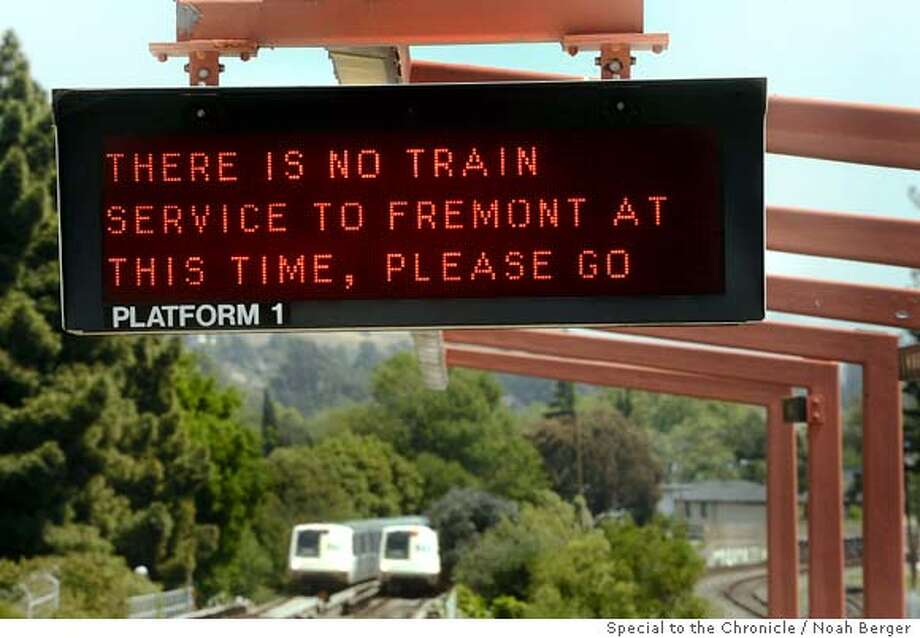 A sign at the Haywart BART station announced that service is closed between Hayward and Fremont on Saturday, May 10, 2008, in Hayward, Calif. A fire at the South Hayward train yard early this morning disrupted BART service between Hayward and Fremont.  Photo by Noah Berger / Special to the Chronicle Ran on: 05-13-2008  A sign at BART's Hayward Station flashed word Saturday that there was no service to Fremont. Fire damaged the Hayward yard. Photo: Noah Berger
