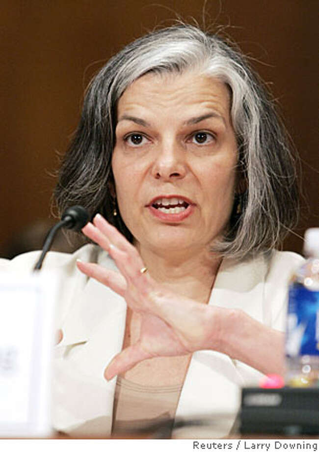 Center for Disease Control and Prevention Director Dr. Julie Gerberding testifies before the Senate Appropriations Labor, Health and Humans Services subcommittee hearing on the threat posed by travel of a patient with drug resistant Tuberculosis on Capitol Hill in Washington, June 6, 2007. REUTERS/Larry Downing (UNITED STATES) Ran on: 06-10-2007 ALSO Ran on: 09-20-2007  Dr. Julie Gerberding, CDC director, warns not to be complacent about the illness.  Ran on: 09-20-2007  Dr. Julie Gerberding, CDC director, warns not to be complacent about the illness.  Ran on: 10-24-2007  Julie Gerber- ding's plan- ned remarks on health risk from climate change were reportedly ed- ited severely.  Ran on: 05-10-2008  Dr. Julie Gerberding, CDC director, said more money is needed to fight HIV among blacks. Photo: LARRY DOWNING