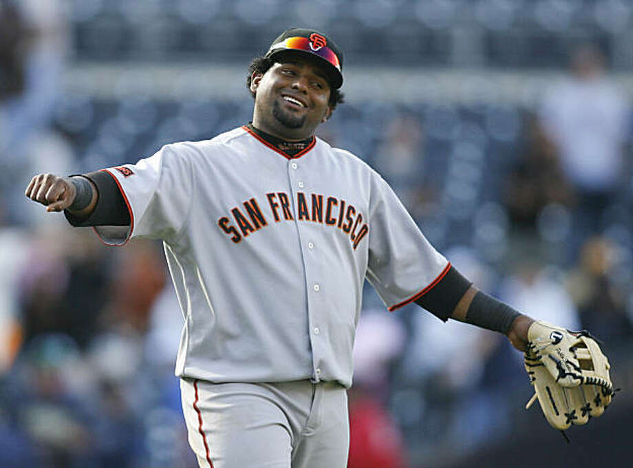 San Francisco Giants' Pablo Sandoval celebrates after the Giants beat the San Diego Padres 4-3 in the 10th inning of a baseball game Sunday, Oct. 4, 2009 in San Diego. (AP Photo/Denis Poroy) Photo: Denis Poroy, AP