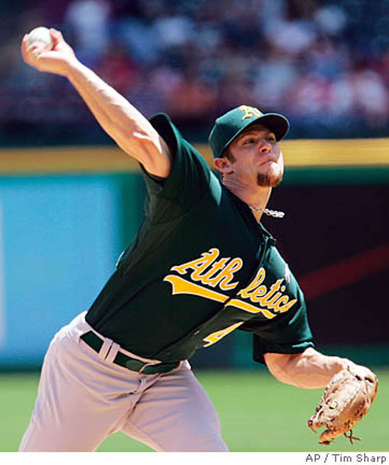 Oakland Athletic's pitcher Rich Harden (40) throws against the Texas Rangers during the second inning of their Major League Baseball game, Sunday, May 11, 2008, in Arlington, Texas. (AP Photo/Tim Sharp) Photo: Tim Sharp