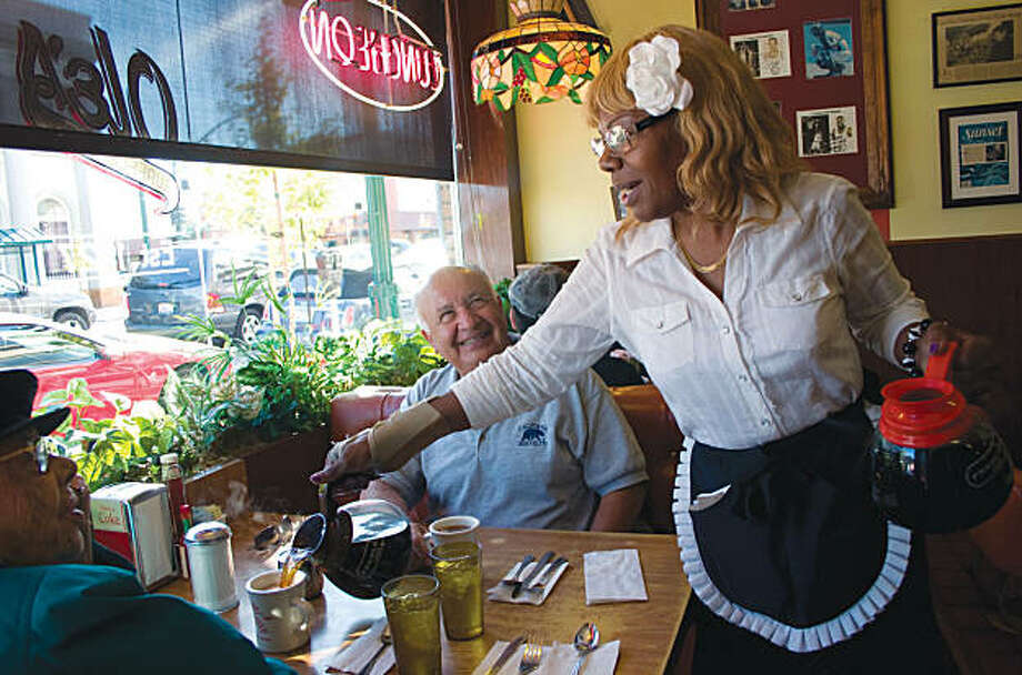 "Dolores Jeanpierre on the job at Ole's Waffle Shop in Alameda. Jeanpierre is one of dozens of waitresses profiled in ""Counter Culture."" Photo: Candacy A. Taylor, Cornell University Press"