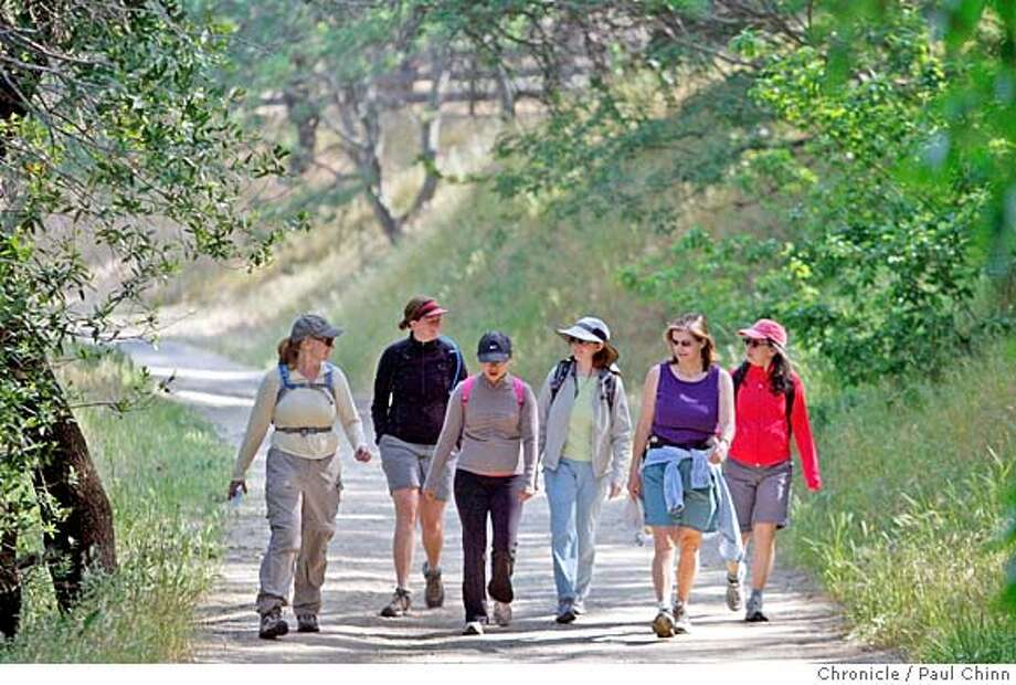 ###Live Caption:Kathryn Levenson, far left leads a group of mothers on a hike at Briones Regional Park in Martinez, Calif., on Saturday, May 3, 2008. From left to right is: Kathryn Levenson, Candace Renger, Maureen Rucker, Heather Ashcroft, Vivian Jaquette and Hana Yoon. An East Bay group of moms started Adventure Moms, which meets on the first Saturday of the month for a variety of outings.  Photo by Paul Chinn / San Francisco Chronicle###Caption History:Kathryn Levenson, far left leads a group of mothers on a hike at Briones Regional Park in Martinez, Calif., on Saturday, May 3, 2008. From left to right is: Kathryn Levenson, Candace Renger, Maureen Rucker, Heather Ashcroft, Vivian Jaquette and Hana Yoon. An East Bay group of moms started Adventure Moms, which meets on the first Saturday of the month for a variety of outings.  Photo by Paul Chinn / San Francisco Chronicle###Notes:Kathryn Levenson, Candace Renger, Maureen Rucker, Heather Ashcroft, Vivian Jaquette, Hana Yoon###Special Instructions:MANDATORY CREDIT FOR PHOTOGRAPHER AND S.F. CHRONICLE/NO SALES - MAGS OUT Photo: Paul Chinn