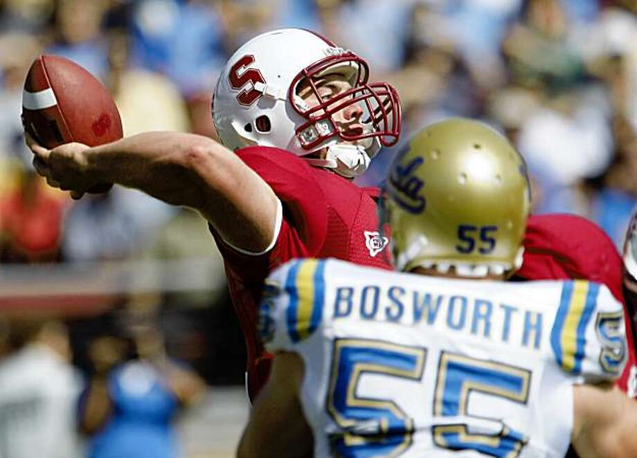 Stanford quarterback Andrew Luck (12) passes in front of UCLA defensive end Korey Bosworth (55) during the first quarter of an NCAA football game in Stanford, Calif., Saturday, Oct. 3, 2009. Photo: Paul Sakuma, AP