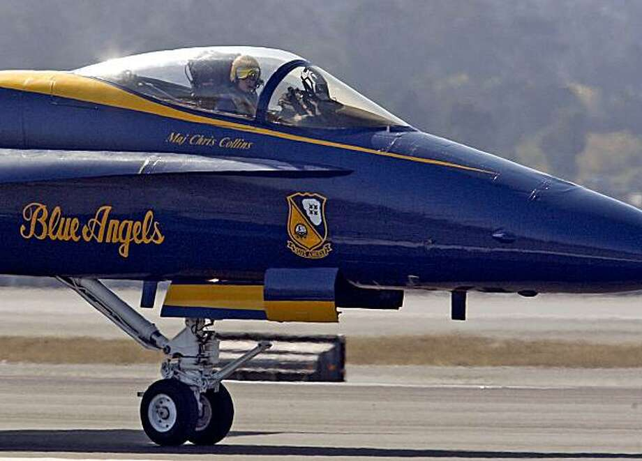 The U.S. Navy's precision flight demonstration team, the Blue Angels, arrived in formation, at San Francisco International Airport on Tuesday, October 6, 2009. Photo: Frederic Larson, The Chronicle