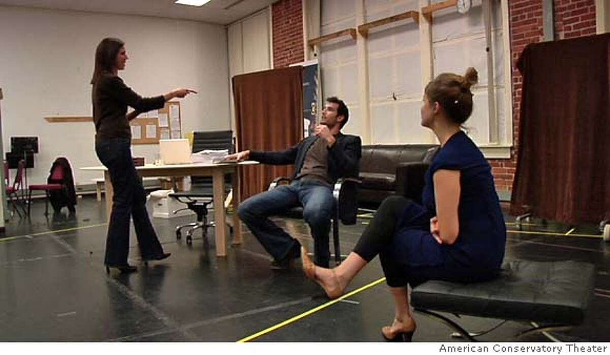 ###Live Caption:Speed-the-Plow L to R: Loretta Greco, Matthew Del Negro, and Jessi Campbell###Caption History:Speed-the-Plow L to R: Loretta Greco, Matthew Del Negro, and Jessi Campbell Ran on: 01-03-2008 Director Loretta Greco (left) rehearses a scene with actors Matthew Del Negro and Jessi Campbell. Speed-the-Plow is set in Hollywood.###Notes:###Special Instructions: