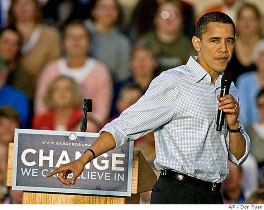 Democratic presidential hopeful, Sen. Barack Obama, D-Ill., speaks while campaigning at Summit High School in Bend, Ore., Saturday, May 10, 2008.(AP Photo/Don Ryan) Photo: Don Ryan