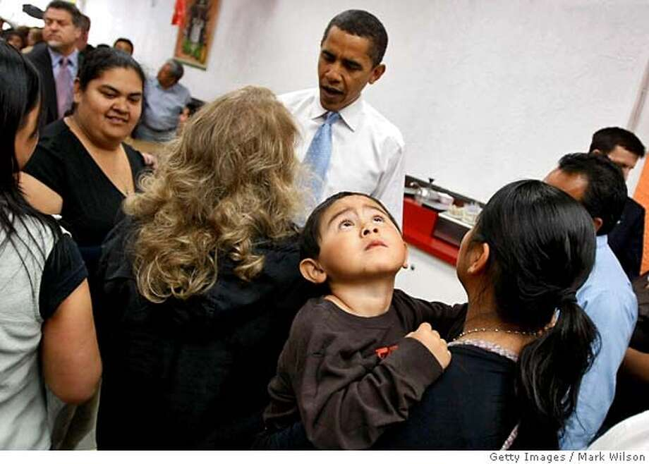###Live Caption:WOODBURN, OR- MAY 09: Democratic presidential hopeful Sen. Barack Obama (D-IL) greets people at Luis's Taqueria Mexican Resturaunt, May 9, 2008 in Woodburn, Oregon. Oregon will hold its Democratic primary on May 20th. (Photo by Mark Wilson/Getty Images)###Caption History:WOODBURN, OR- MAY 09: Democratic presidential hopeful Sen. Barack Obama (D-IL) greets people at Luis's Taqueria Mexican Resturaunt, May 9, 2008 in Woodburn, Oregon. Oregon will hold its Democratic primary on May 20th. (Photo by Mark Wilson/Getty Images)###Notes:Barack Obama Campaigns Across U.S. Ahead Of Primaries###Special Instructions: Photo: Mark Wilson