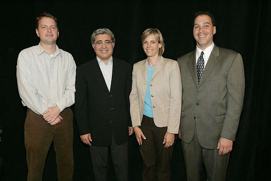 David Filo, Chief Yahoo! and co-founder of Yahoo! Inc., left, Terry S. Semel, chairman and CEO, second from left, Susan L. Decker, CFO, second from right, and Dan Rosenweig, COO, pose following their annual shareholders meeting in Santa Clara, California Thursday May 19, 2005. Photographer: Kimberly White/Bloomberg News.  Ran on: 05-21-2006  Terry Semel: The Yahoo CEO was the highest paid last year with $56.8 million. Photo: Kimberly White, Bloomberg News