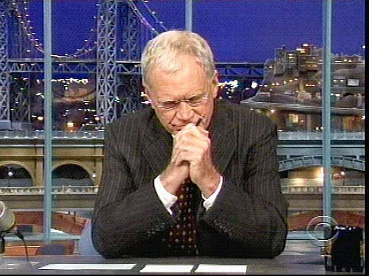 This image rendered form video shows David Letterman as he tells his story during a taping of his late-night show Thursday Oct. 1, 2009 that he had sexual relationships with female employees and that someone tried to extort $2 million from him over the affairs, and CBS says an employee has been charged with attempted grand larceny in the case. (AP Photo/CBS)